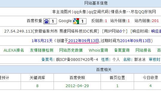 QQ好玩网SEO指标